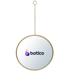 """מראה עגולה מסגרת זהב עם שרשרת תלייה קוטר 50 ס""""מ 605210119G"""