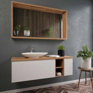 """ארון אמבטיה מודרני אפוקסי בשילוב פורניר 100 ס""""מ דגם לורן"""
