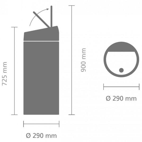פח טאצ עגול 30 ליטר פלטינום Y-402760 באטיקו BATICO שרטוט