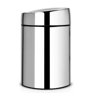 פח אשפה סלייד כולל תלייה 5 ליטר אפור מבריק/מכסה מבריק Brabantia Y477560