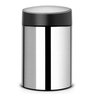 פח אשפה סלייד כולל תלייה 5 ליטר אפור מבריק/מכסה שחור Brabantia Y397127