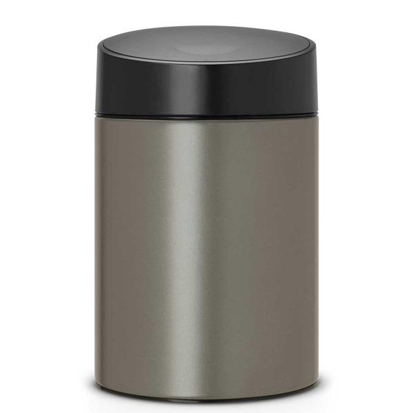פח אשפה סלייד כולל תלייה 5 ליטר פלטינום/מכסה שחור Brabantia Y483141