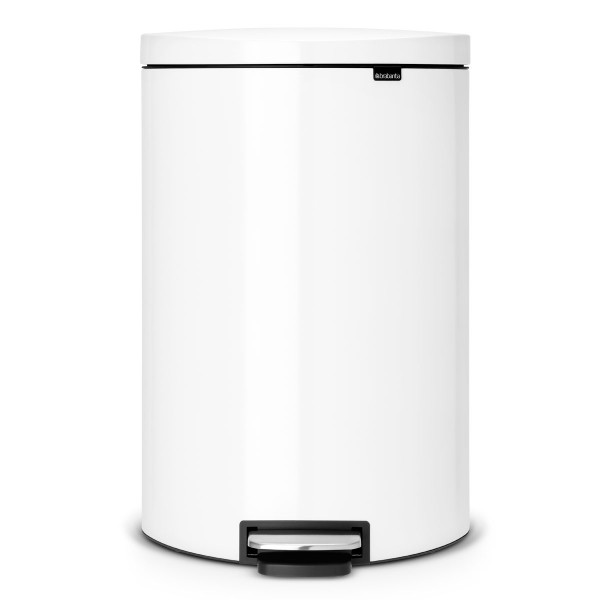 פח פדל אובלי גדול למטבח BRABANTIA צבע לבן 40 ליטר Y485244