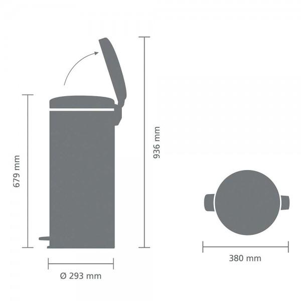 פח פדל NewIcon גדול 30 ליטר brabantia זהוב מינרלי Y-115967 באטיקו BATICO 1