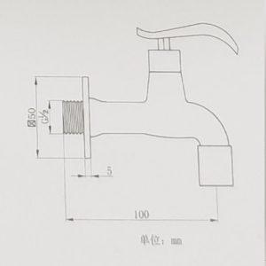 ברז מים קרים מהקיר שחור 1335B 1