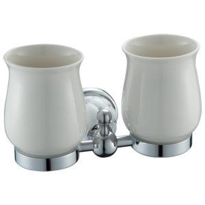 כוס כפולה למברשות שיניים ניקל לבן DIAMOND 4255W