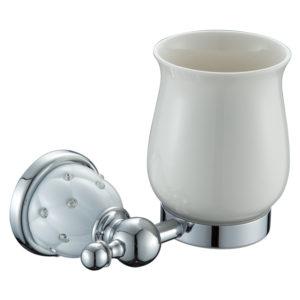 כוס למברשות שיניים ניקל לבן DIAMOND 4258W