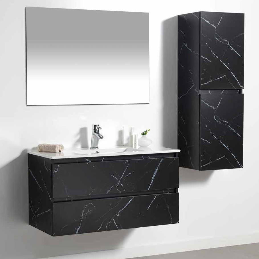 ארון אמבטיה תלוי פורמיקה שחור אבן שיש URBAN