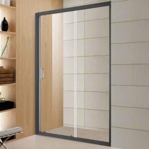 מקלחון חזית דופן קבוע ודלת הזזה פרופיל שחור מט