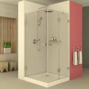 מקלחון פינתי קבוע ודלת וצד שני דלת נפתחת