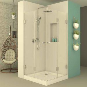 מקלחון פינתי דלתות הרמוניקה
