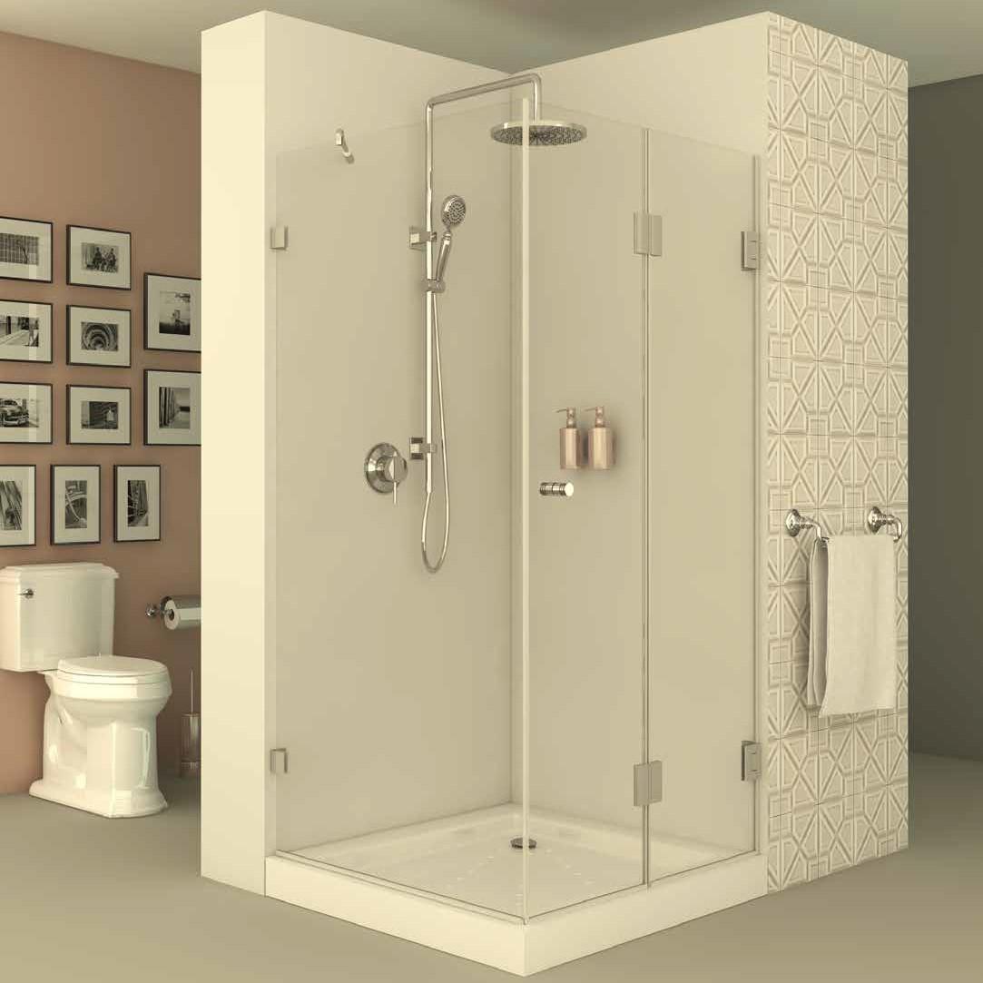 מקלחון פינתי דופן קבועה וצד שני דלת מתקפלת הרמוניקה