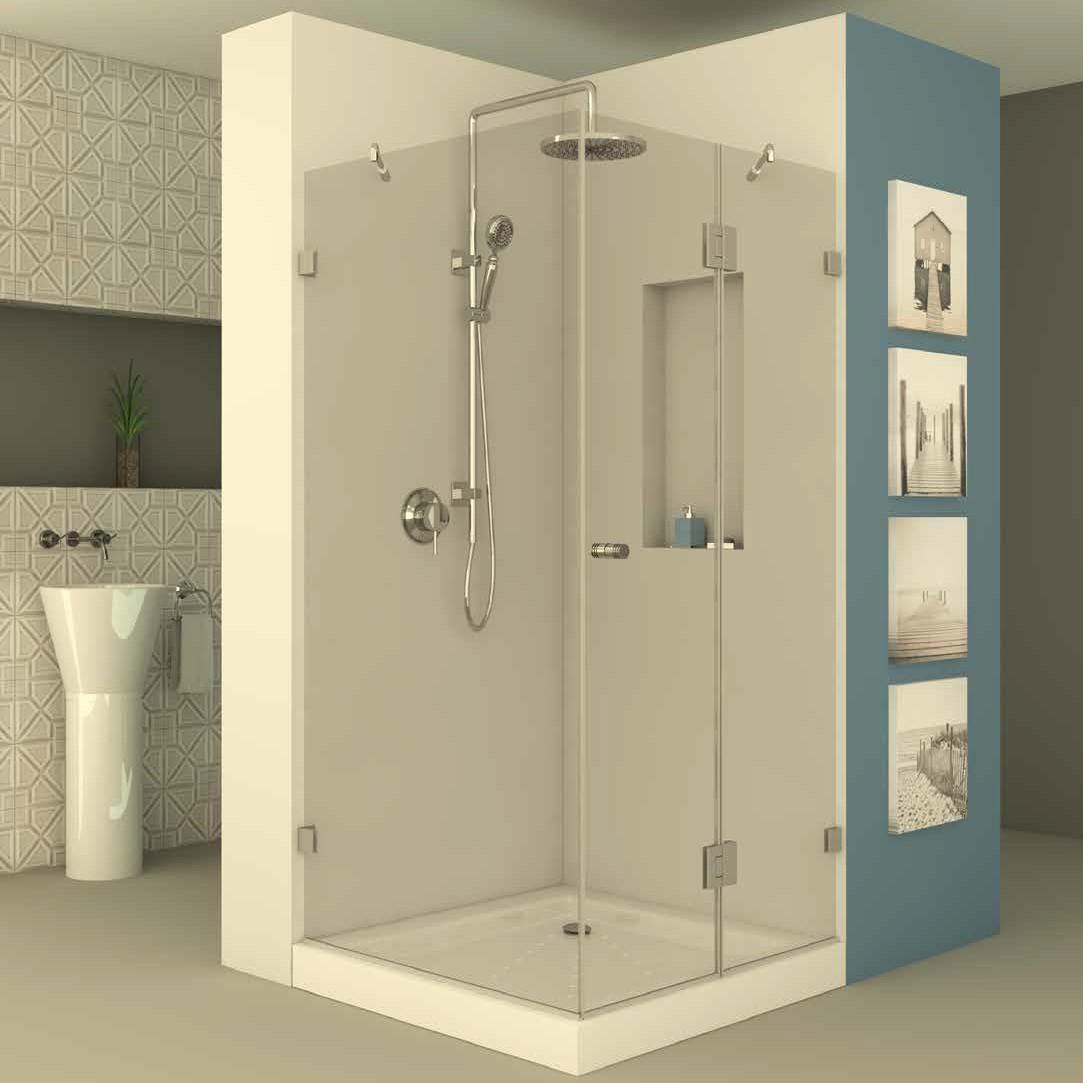 מקלחון פינתי דופן קבועה וחצי שני דופן פלוס דלת נפתחת פנימה והחוצה
