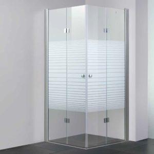 מקלחון פינתי שתי דלתות הרמוניקה
