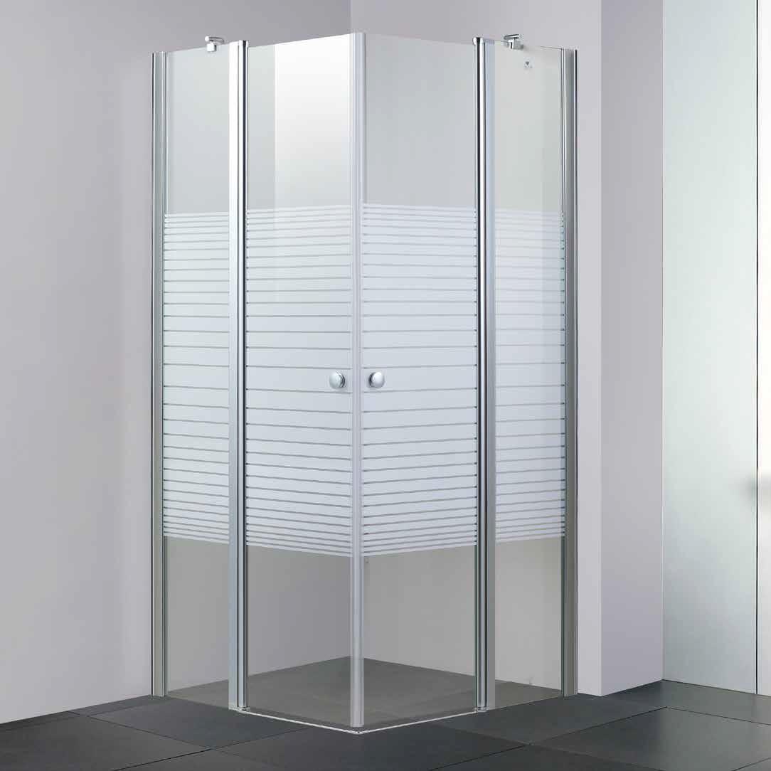 """מקלחון פינתי קבוע ודלת לפי מידה 70 עד 110 ס""""מ"""