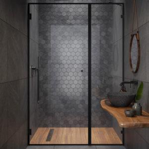 """מקלחון חזית קבוע ודלת 8 מ""""מ פרזול שחור"""