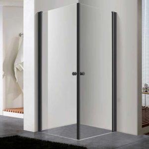 מקלחון פינתי שחור שתי דלתות נפתחות