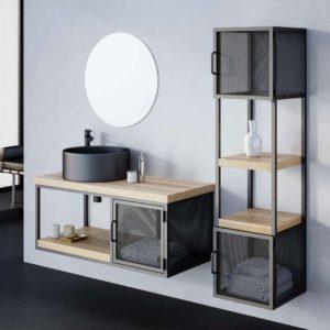 """ארון אמבטיה רשת מתכת בשילוב עץ מלא 4 ס""""מ מונאקו"""