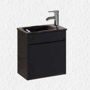 """ארון אמבטיה 43/26 ס""""מ שחור כולל ברז ומראה"""