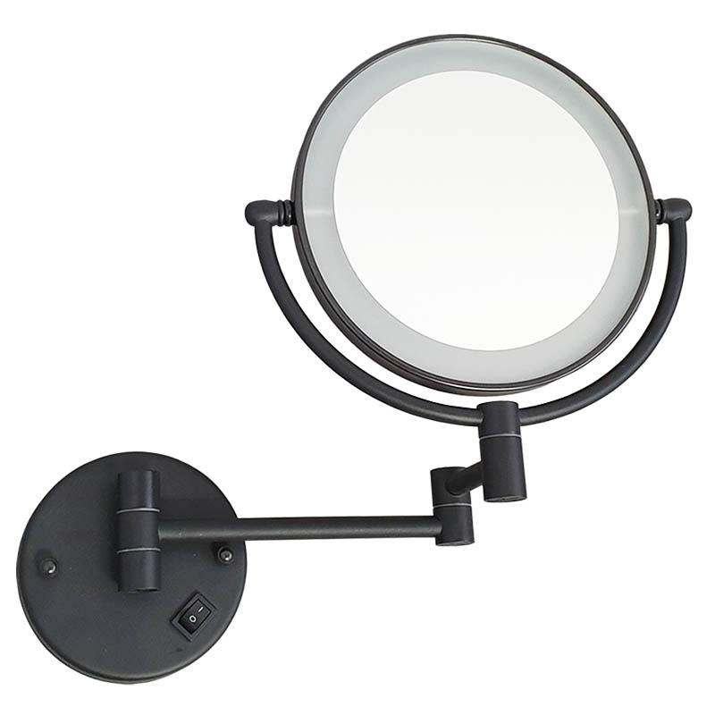 מראה תאורת לד מגדילה פי 7 לקיר שחור M25BL