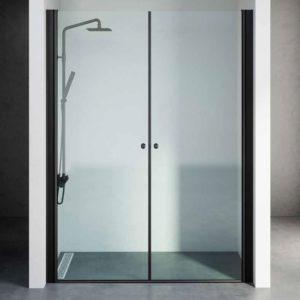 """מקלחון חזית שחור 2 דלתות לפי מידה עד 145 ס""""מ"""