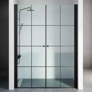 """מקלחון חזית שחור 2 דלתות פסים לפי מידה עד 145 ס""""מ"""