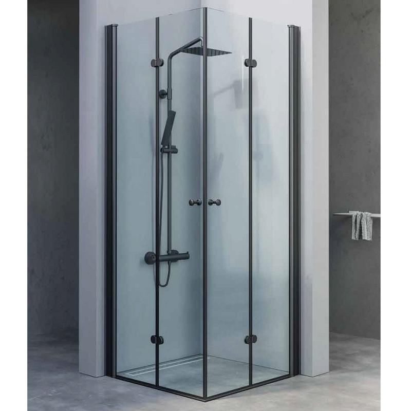 מקלחון פינתי דלתות הרמוניקה שחור