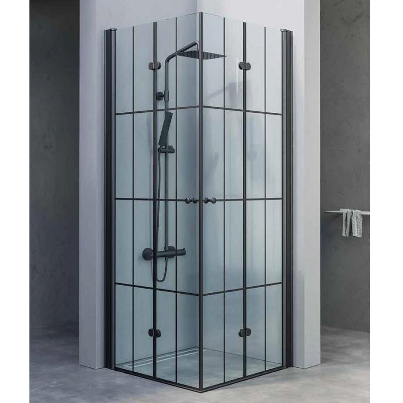 מקלחון פינתי דלתות הרמוניקה פסים שחור