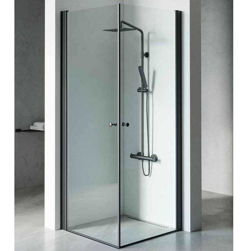 מקלחון פינתי 2 דלתות פרזול שחור
