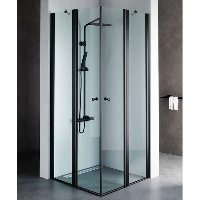 מקלחון פינתי קבוע ודלת פרופיל שחור