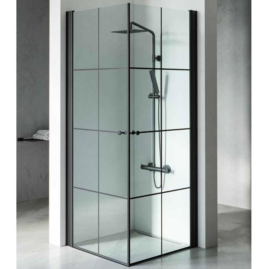 מקלחון פינתי 2 דלתות פסים שחור