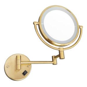 מראה תאורת לד מגדילה פי 7 לקיר זהב מט M25MG