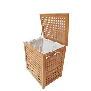 """סל כביסה עץ טיק מלא לאמבטיה קטן 55x35x55 ס""""מ 1"""