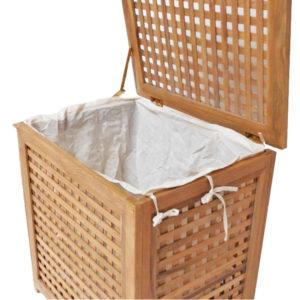 """סל כביסה עץ טיק מלא לאמבטיה קטן 55x35x55 ס""""מ 5"""