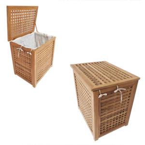 """סל כביסה עץ טיק מלא לאמבטיה קטן 55x35x55 ס""""מ 4"""