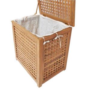 """סל כביסה עץ טיק מלא לאמבטיה קטן 55x35x55 ס""""מ 3"""