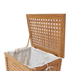 """סל כביסה עץ טיק מלא לאמבטיה קטן 55x35x55 ס""""מ 2"""