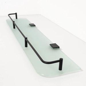 """מדף זכוכית חלבית 60 ס""""מ פרזול שחור 3"""