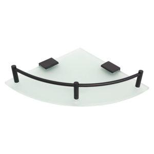 מדף זכוכית פינתי פרזול שחור SL277BL