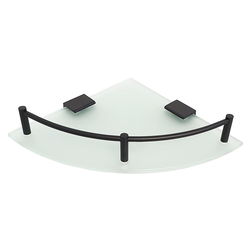 מדף זכוכית פינתי פרזול שחור S721BL