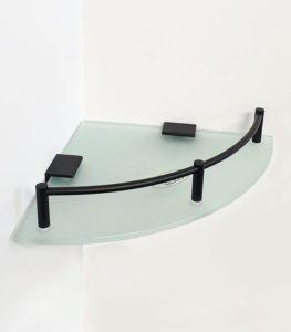 מדף זכוכית פינתי פרזול שחור S721BL 3