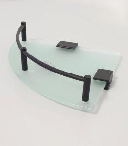 מדף זכוכית פינתי פרזול שחור S721BL 4
