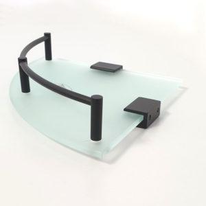 מדף זכוכית פינתי פרזול שחור S721BL 2