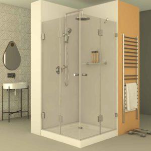 מקלחון פינתי צירים הרמוניקה וקבוע+דלת