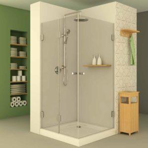 מקלחון פינתי צירים הרמוניקה וצד שני דלת
