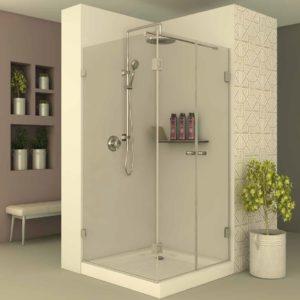 מקלחון פינתי דופן קבועה וצד שני 2 דלתות נפתחות
