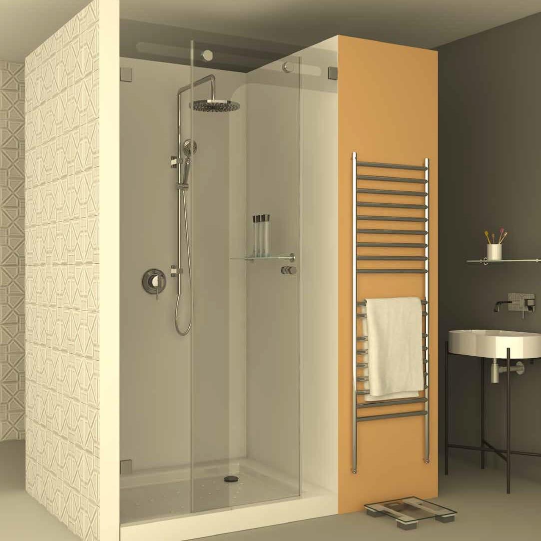 מקלחון חזית הזזה CNC מורכב מדופן קבועה ודלת הזזה