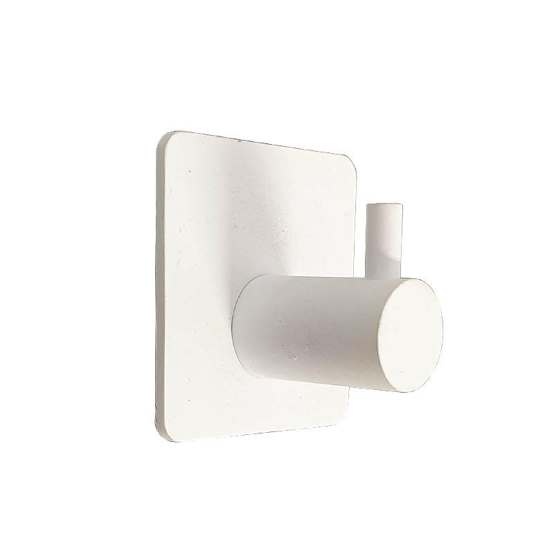 מתלה מגבות אמבטיה בודד בהדבקה 3M לבן