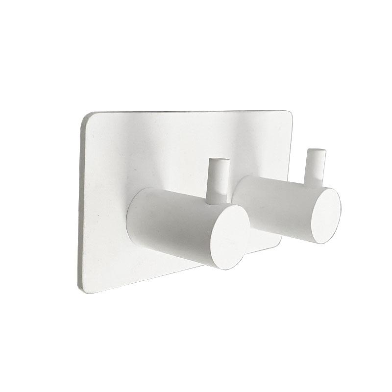 מתלה מגבות אמבטיה זוגי בהדבקה 3M לבן