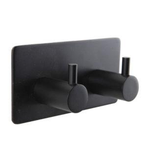 מתלה מגבות אמבטיה זוגי בהדבקה 3M שחור מט